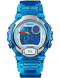 Mishuo 子供 腕時計 スポーツ 防水 小学生 腕時計 デジタル アナログ 男の子 キッズ 目覚まし時計 七彩LED おしゃれ プレゼント かっこいい (ブルー)