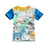 [Vaenait Baby]キッズ2歳-7歳綿100%ルームウェアショートスリーブ半袖Tシャツ Zoo White S