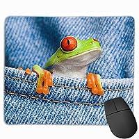 カエル デニム マウスパッド 滑り止め マウス用パット ゲーミング 耐久性 約(25cm X 30cm) マウス パッド