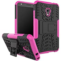 JDDR ケース、 Hyun Patternデュアルレイヤーハイブリッドアーマーケース取り外し可能キックスタンド Alcatel Pixi 4 OT5045X(4G)(5.0インチ)用の耐衝撃性の厳しい頑丈なケースカバー2インチ ( Color : Pink )