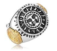 PW 精良SUS316L製 シルバー銀xゴールド金 太陽神 solar deity 指輪 【ラッピング対応】