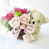 誕生日プレゼント 花 女性 プリザーブドフラワーのバラと子ぐまフラワーアレンジメント (くま)