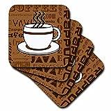 CST _ 58641Janna Salak Designs Food and Drink–コーヒー好きギフト–コーヒー単語印刷–ブラウン–コースター set-of-4-Soft ブラウン cst_58641_1