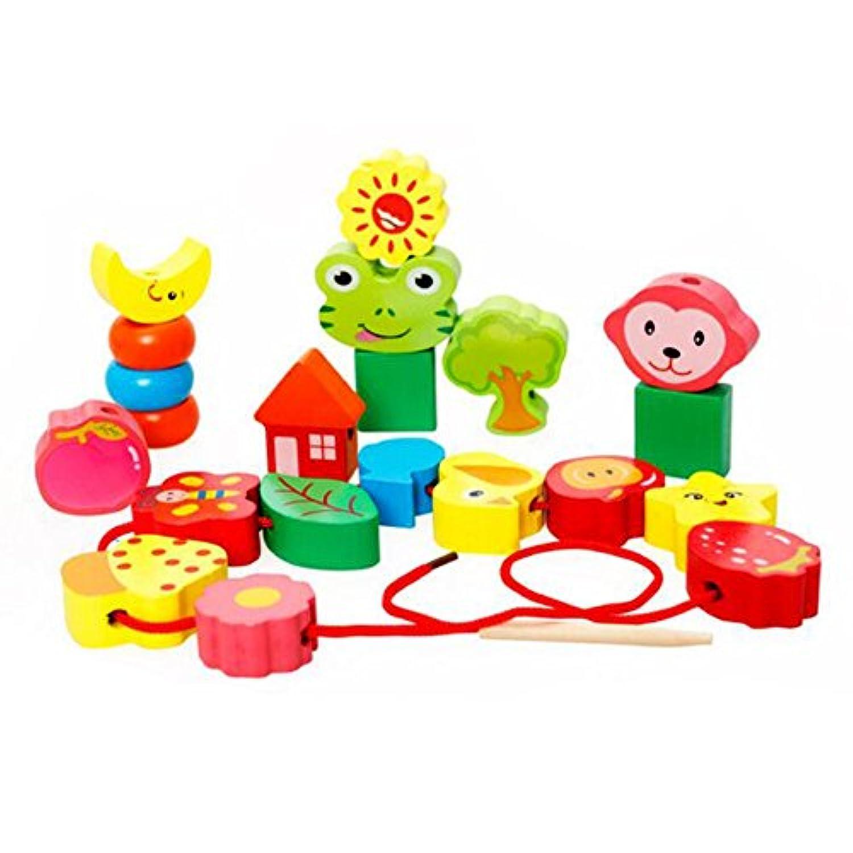 木製 ビーズ ひも通し 知育玩具 木製 ツリー 子供 おもちゃ カラフル ビーズ遊び 動物紐通し hibote No.7