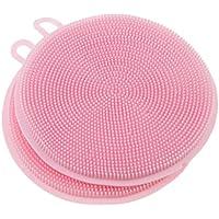 Baosity 2個 シリコン キッチン 洗浄 ブラシ ボウル 皿 鍋 食器洗いブラシ 全7色選べる    - ピンク