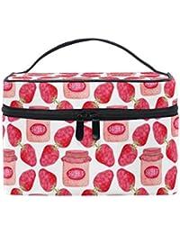 13310eea828c VAWA 化粧ポーチ 大容量 かわいい 機能的 果物柄 フルーツ イチゴ柄 ストロベリー 絵柄 可愛い かわいい メイクポーチ コンパクト おしゃれ  化粧箱 コスメポーチ…