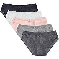 Knitlord Women's Bikini Panties Soft Lace Trim Bikini Underwear Bamboo 5 Pack