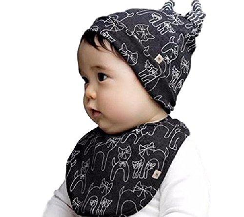 スタイ 帽子 セット猫 コットン よだれかけ 出産祝い プレゼント (ダークグレー)