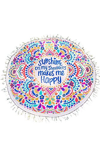 (シーファニー)Cfanny レディース Sunshine Happy ラウンド ビーチ タオル タッセル お洒落 ボヘミア 軽い ビーチマット,カラフル,M