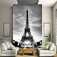 Mingld カスタム3D壁壁画写真の壁紙エッフェル塔パリ市郷愁グレーの壁の接触紙用リビングルームテレビソファ背景-280X200Cm