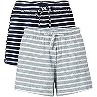 Genuwin 2 Pack Women's Pyjama Shorts Ultra Soft Cotton Sleep Bottoms with Adjustable Drawstring Nightwear Lounge Pants
