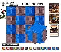 エースパンチ 新しい 16ピースセット青とブルゴーニュ500 x 500 x 50 mm ピラミッド 東京防音 ポリウレタン 吸音材 アコースティックフォーム AP1034