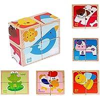 木製教育玩具木製ファーム動物キューブブロックパズルfor Age 1 – 3 Years Old子供、6パズルin one