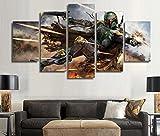 コンバース キャンバス 5ピースStar Wars Warriorボバ・フェット壁アート画像ホーム装飾リビングルームキャンバスプリント壁写真印刷キャンバスの 30x50 30x70 30x80cm 52005375