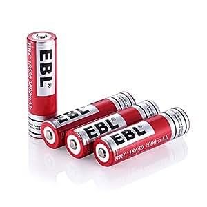 EBL 18650リチウム充電池 Li-ion充電池 18650 3.7V 4個パック 3000mAh ケース付き