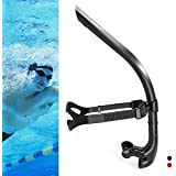 COPOZZ Swim Snorkel for Lap Swimming Swimmers Training Snorkeling Diving, Center Mount Comfortable Silicone Mouthpiece One-Wa