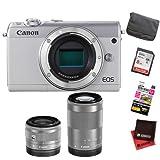 【セット】キヤノン EOS M100 ダブルズームキット ホワイト +カメラバッグ+SDHCカード8GB+液晶保護フィルム+クロス