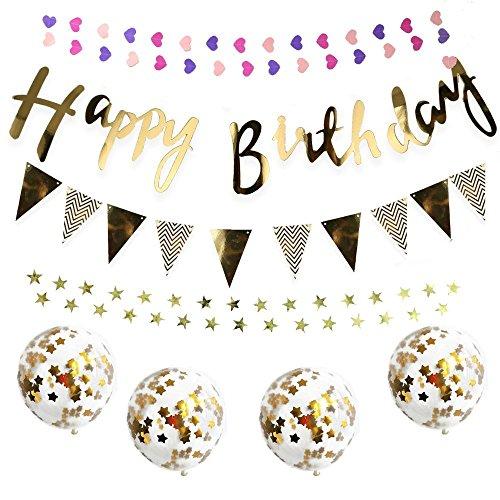 誕生日 飾り付け セット 風船 バースデー ガーランド デコレーション HAPPY BIRTHDAY きらきら風船 ゴールド