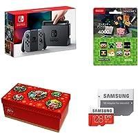 Nintendo Switch Joy-Con (L) / (R) グレー+ニンテンドープリペイドカード4000円(Minecraft)+【Amazon.co.jp限定】ギフトラッピングキット【大】 (BOX仕様:マリオキャラクターver.) +Samsung microSDXCカード 128GB EVO Plus MB-MC128GA/ECO