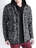 (オークランド) Oakland フィッシャーマン ケーブル編み ニット カーディガン カーデ 厚手 セーター 起毛 メンズ ブラック引き揃え Lサイズ