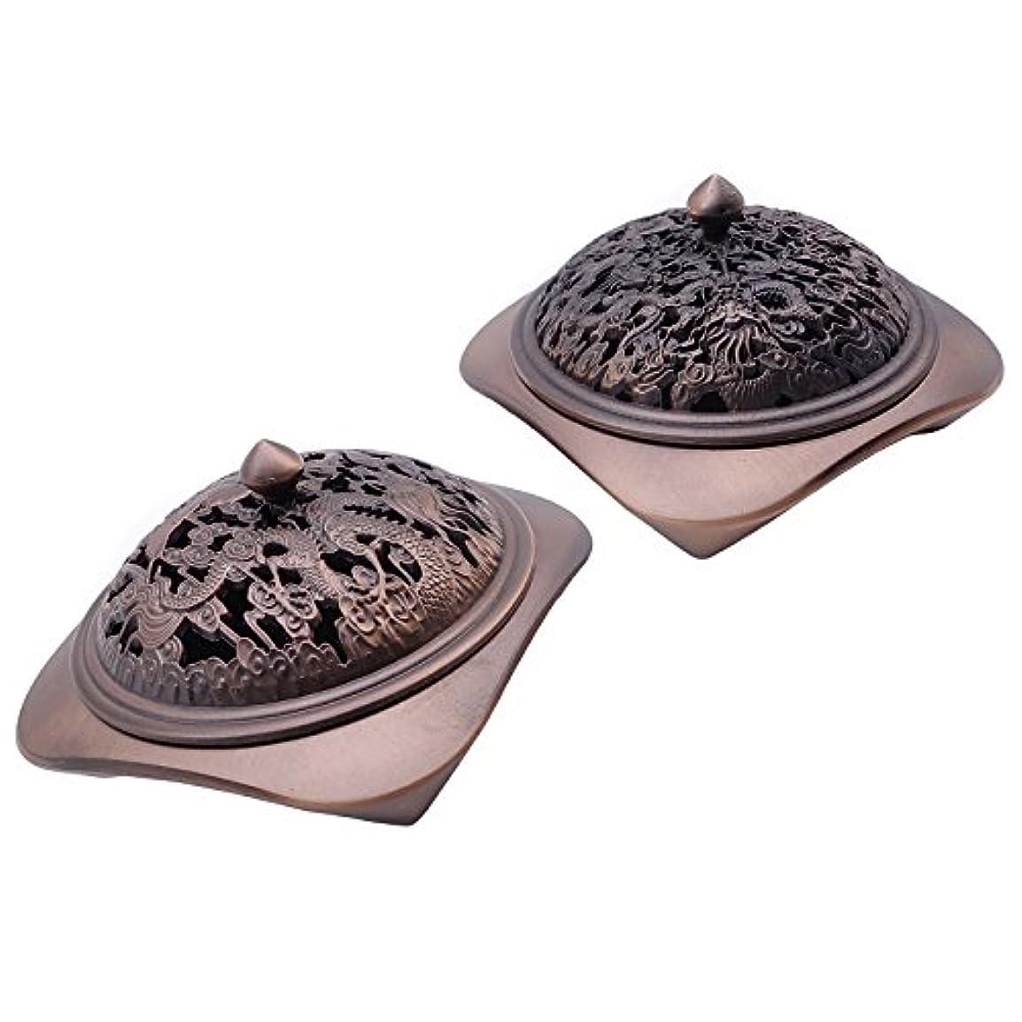 プロペラダブル一目TrendBox – ヴィンテージデザインブロンズIncense円錐炉サンダルウッドプレートホルダーコイルBurner AshキャッチャーChinese TraditionalスタイルBuddhist Washable