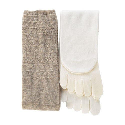 くらしきぬ 冷えとり靴下 4足セット【日本製】シルクとウールの重ねばきソックス (ベージュ)
