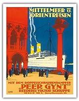 地中海とオリエント - 海運会社ビクターSchuppe - ツインスクリュースチーマーペール・ギュント上の地中海とオリエントクルーズ - ビンテージな遠洋定期船のポスター によって作成された ルドルフ・リュファー c.1925 - アートポスター - 28cm x 36cm