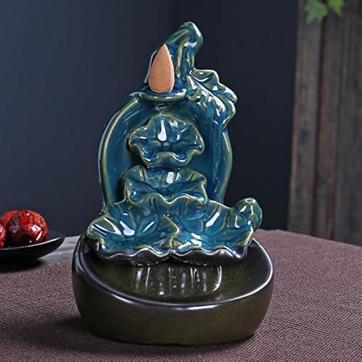 意志に反するトランザクション支配的PHILOGOD 陶器 逆流香炉 蓮の葉クリエイティブスタイリング香炉 お香 ホルダー 香立て