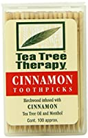 Tea Tree Therapy Birchwood Toothpicks with Cinnamon Oil 100 Ct