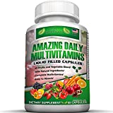 FOOD BASED Daily Liquid Filled Multivitamin Supplement Capsules For Men Women Seniors With 42 Fruits Vegetables Blend, 21 Essential Vitamins Minerals. Easy To Swallow. Made in USA