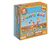 Fishy 's Bike and家、2 SidedジグソーFloorパズル。48ピース、3フィートlong. PerfectギフトユダヤのToddles、キッズ、男の子と女の子の年齢2 – 6。By Farbreng Toys