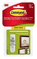 (16 Pairs) - Command Picture Hanging Strips Value Pack, Small, White, 16-Pairs (17205-16ES)