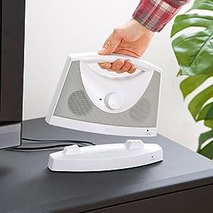 サンワダイレクト ワイヤレススピーカー テレビ用 手元スピーカー 補聴 バッテリー内蔵 最大10W 400-SP051W