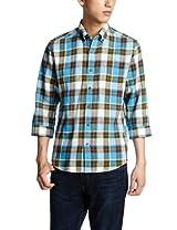 Linen Cotton Big Check 7/10 Sleeve Buttondown Shirt 3216-166-0882: Olive