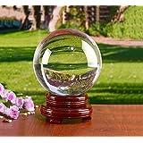 スタンド付き透明水晶球 (110mm(木製の台座))