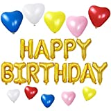 HAPPY BIRTHDAYバルーン ハート型風船10個 5色 誕生日 飾り付け セット(ゴールドlv-02)
