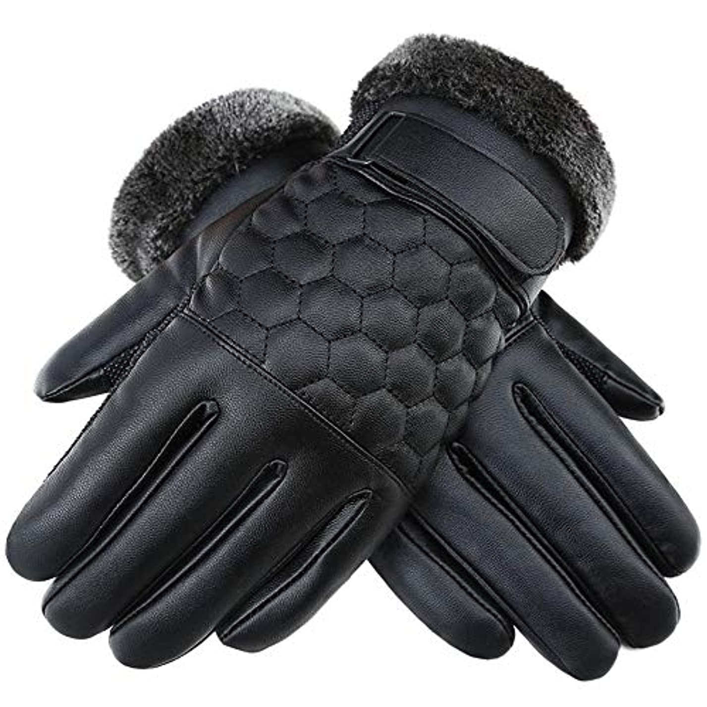 交通渋滞まあ七面鳥革手袋、防風および耐寒性、PU レザー、メンズブラックグローブ、冬の屋外スキー、乗馬、登山スポーツ手袋