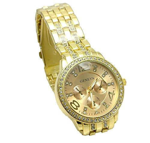 金ぴか好き! ゴールド ウォッチ 贅沢 腕時計 宝石飾り 伊達メンズ -