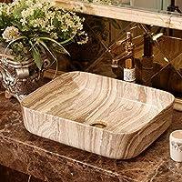セラミック洗面器シングルホール、長方形、セラミック家庭用シンク、洗面器アート洗面器洗面器ゴールド洗面器 Brown
