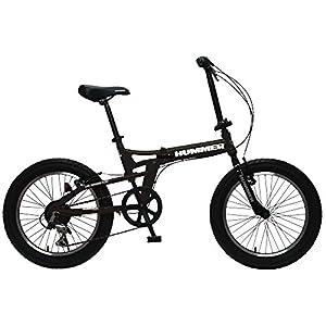 HUMMER(ハマー) FDB206FAT-BIKE ブラック 20インチ 極太3.0タイヤ 折りたたみ式 迫力ある自転車 シマノ製6段変速/前後Vブレーキシステム 13284-0199
