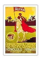 1910ミッドパシフィック・カーニバル - ホノルルハワイ - 毎年恒例の花パレード - ビンテージなカーニバルのポスター によって作成された M. ミスト c.1910 - アートポスター - 76cm x 112cm