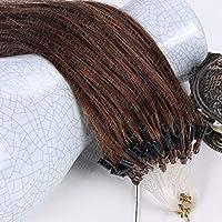 FidgetGear 7A 16-26インチマイクロループリングビーズ二重描画レミー人間の髪の毛の拡張子 #04ミディアムブラウン