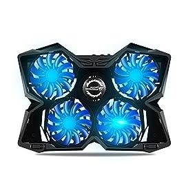 (suzusii)冷却パッド ノートパソコン 冷却台 ノートPCクーラー クール 超静音 冷却ファン 2口USBポート LED搭載 USB接続 17インチ型まで対応 超薄型デザイン (4ファン)