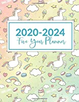 "2020-2024 Five Year Planner: This Unicorn Hearts 5 Year planner, scheduler, organizer, features 8.5"" X 11"" size, with yearly, monthly, and daily overview with spot for to do list, goals and reminders. Includes Leap Year & Holidays."
