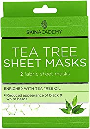 Skin Academy Sheet Masks, Tea Tree, 2 Sheets, 65g