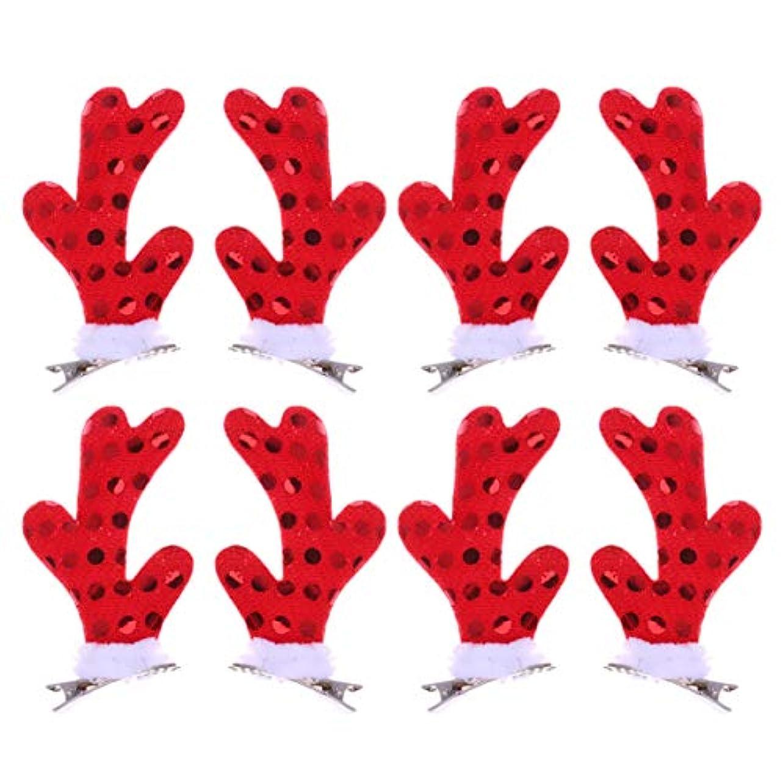 木製変数残りLurrose 女の子のための4ペアクリスマスヘアクリップかわいい枝角ヘアピンクリスマスパーティーアクセサリー用女性女の子