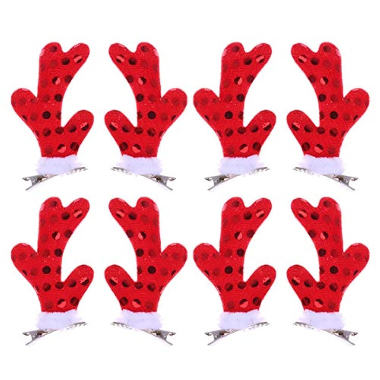 個人エスニックタックLurrose 女の子のための4ペアクリスマスヘアクリップかわいい枝角ヘアピンクリスマスパーティーアクセサリー用女性女の子