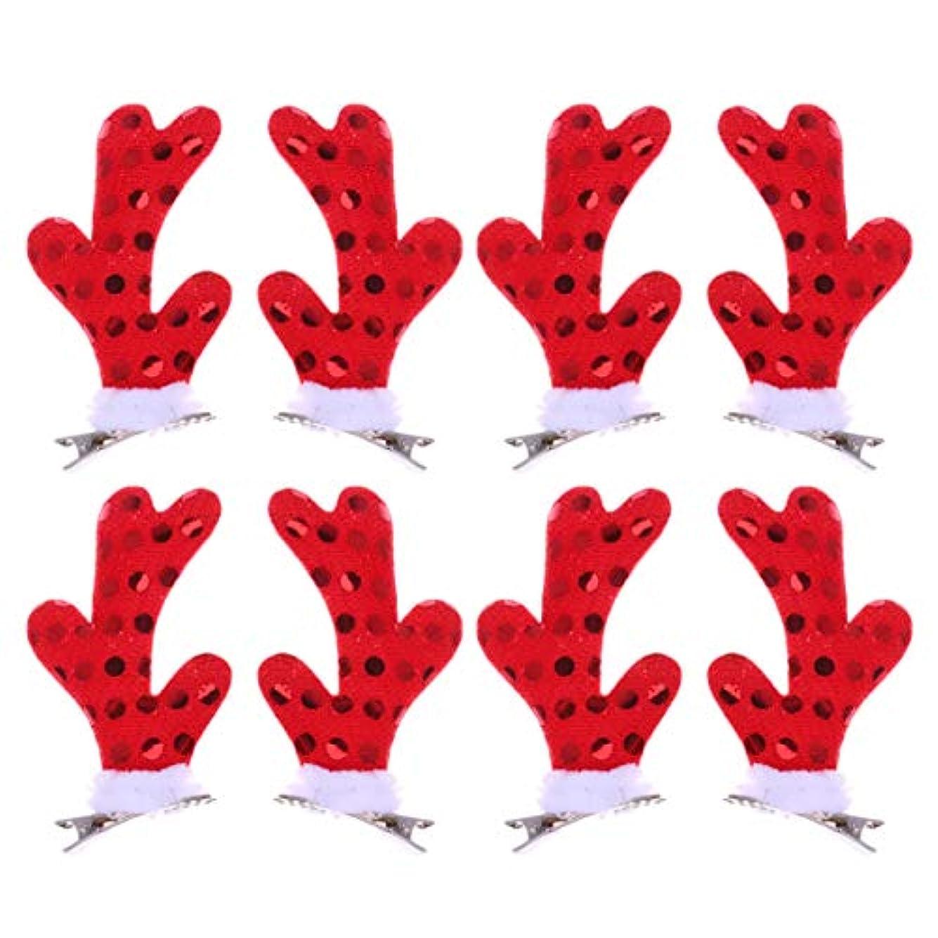 間接的アラビア語保証Lurrose 女の子のための4ペアクリスマスヘアクリップかわいい枝角ヘアピンクリスマスパーティーアクセサリー用女性女の子
