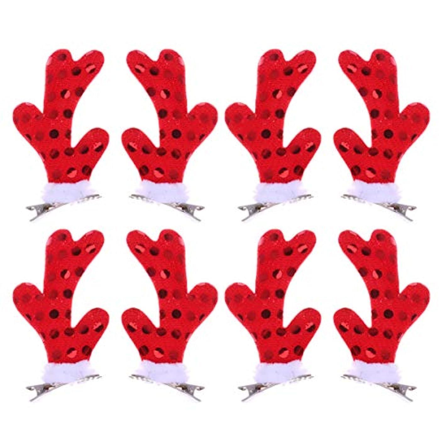 でキルト褒賞Lurrose 女の子のための4ペアクリスマスヘアクリップかわいい枝角ヘアピンクリスマスパーティーアクセサリー用女性女の子