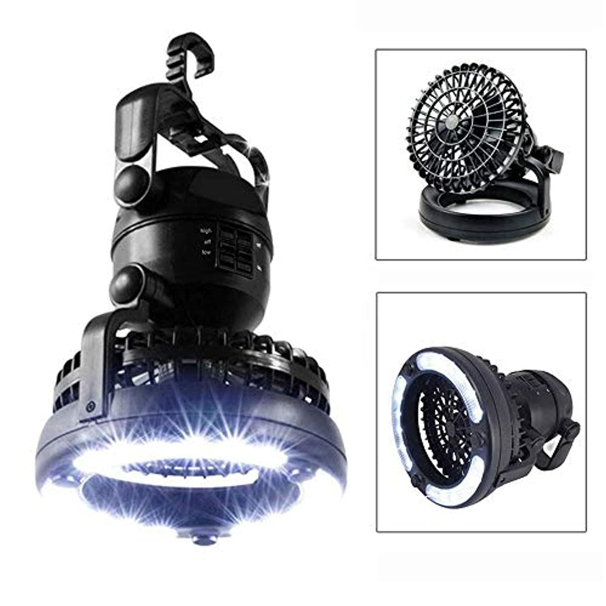 訴えるゴム換気するLEDキャンプランプ、LED懐中電灯の天井ファンが付いている1つの携帯用ランタン360回転停電のための防水防風電池式の非常灯ハイキング、緊急グリル